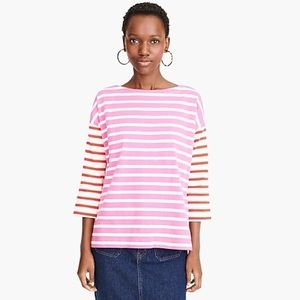 J.CREW Boatneck T-Shirt in Mixed Stripes
